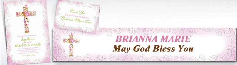 Custom Floral Cross Pink Invitations & Thank You Notes