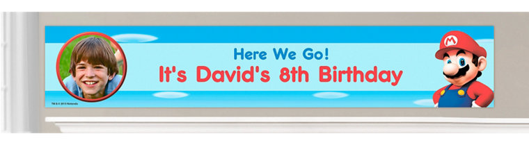 Custom Super Mario Birthday Banners