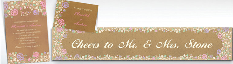 Custom Rustic Floral Wedding Invitations & Thank You Notes