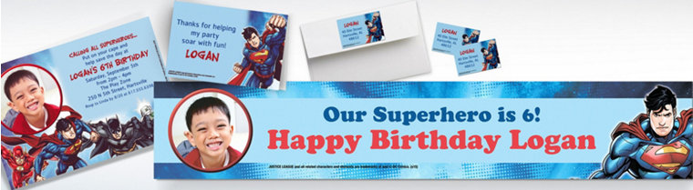 Custom Justice League Invitations & Thank You Notes