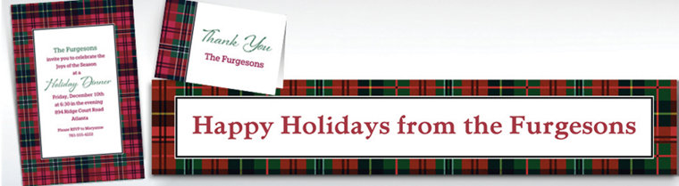 Custom Holiday Plaid Banners, Invitations & Thank You Notes
