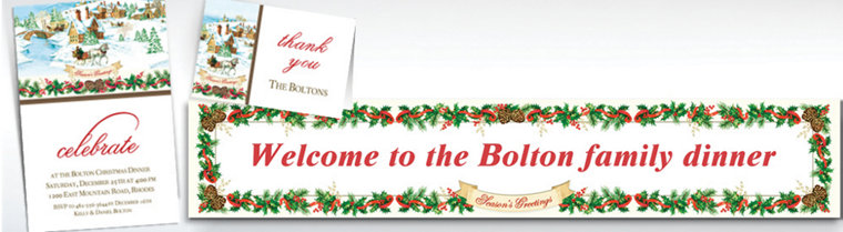 Custom Holiday Magic Banners, Invitations & Thank You Notes