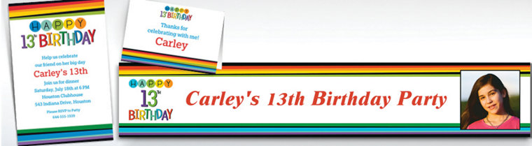 Custom Rainbow 13th Birthday Invitations, Thank You Notes & Banners
