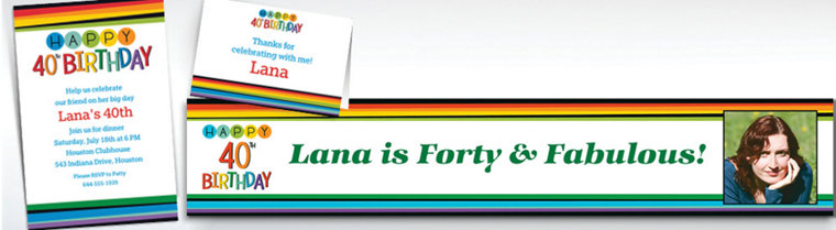 Custom Rainbow 40th Birthday Banners, Invitations & Thank You Notes