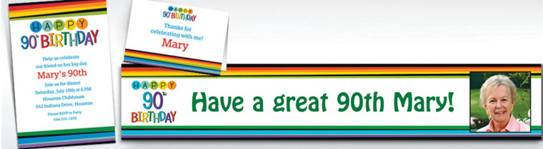 Custom Rainbow 90th Birthday Banners, Invitations & Thank You Notes