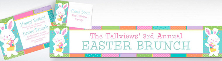 Custom Hippity Hop Easter Bunny Invitations, Thank You Notes & Banners
