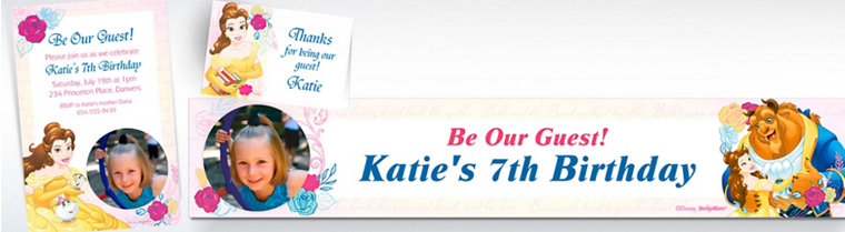 Custom Beauty and the Beast Invitations, Thank You Notes & Banners