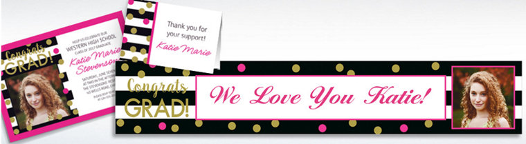Custom Confetti Graduation Invitations, Thank You Notes & Banners