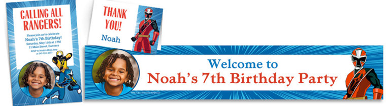 Custom Power Rangers Ninja Steel Invitations, Thank You Notes & Banners