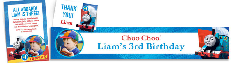 Custom Thomas the Tank Engine Invitations, Thank You Notes & Banners