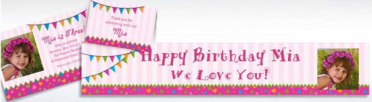 Custom Playful Pink Invitations, Thank You Notes & Banners