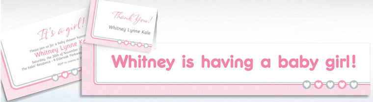 Custom Gray & Pink Hearts Invitations, Thank You Notes & Banners