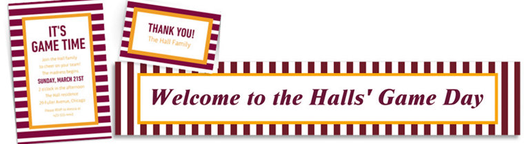 Custom Yellow & Maroon Striped Invitations, Thank You Notes & Banners