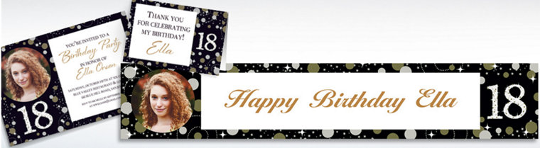 Custom Sparkling Celebration 18 Invitations, Thank You Notes & Banners
