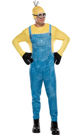 Officially licensed Despicable Me costume. More on Despicable Me Adult Minion Costume: This Minion Costume for adults is a blue overall jumpsuit with long yellow sleeves and a chest pocket. The attached hood is printed with two big eyes with a few strands of hair on top. Get into some mischief at the Halloween party while wearing this Adult.