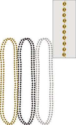 Metallic Black, Gold & Silver Bead Necklaces 6ct