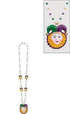 Jesters Mardi Gras Pendant Bead Necklace