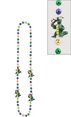 Gator Mardi Gras Bead Necklace