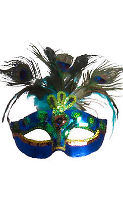 Peacock Feather Masquerade Mask