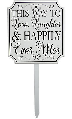 White Happily Ever After Wedding Yard Stake