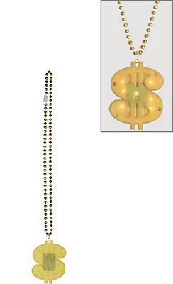 Flashing Dollar Sign Pendant Bead Necklace