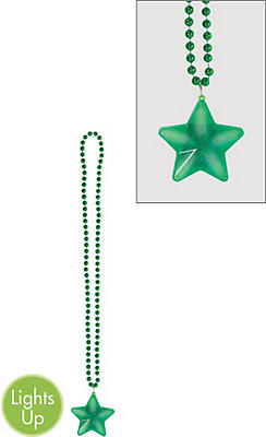 Light-Up Green Star Pendant Bead Necklace
