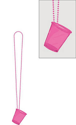 Pink Shot Glass Bead Necklace