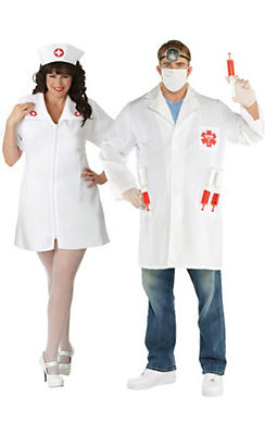 Adult Nurse & Doctor Couples Costumes Plus Size