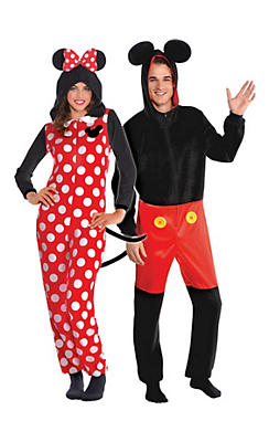 Adult Zipster Minnie Mouse & Mickey Mouse One Piece Couples Costumes