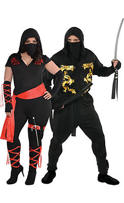 Adult Ninja Couples Costumes Plus Size