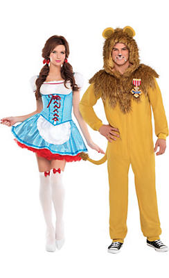 Adult Dorothy & Cowardly Lion Couples Costumes - The Wizard of Oz