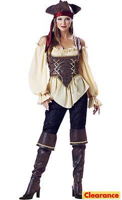 Adult Rustic Pirate Lady Costume Elite