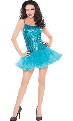 Blue Sequin Petticoat Dress