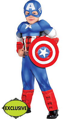 Toddler Boys Captain America Muscle Costume Classic