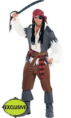 Adult Castaway Captain Pirate Costume