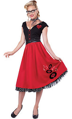 Adult Retro Rock N Roll Sweetheart Costume