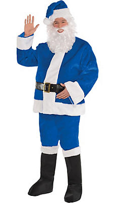Adult Plush Blue Santa Suit