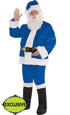 Adult Plush Blue Santa Suit