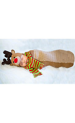 Baby Crochet Cocoon Reindeer Costume