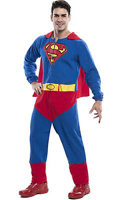 Adult Superman One Piece Pajamas Costume