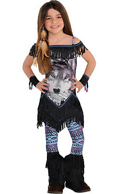 Girls Wolf Spirit Festival Costume