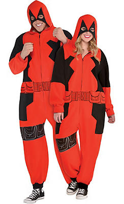Adult Zipster Deadpool One Piece Costume Plus Size