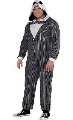 Adult Zipster Jack Skellington One Piece Costume Plus Size - The Nightmare Before Christmas