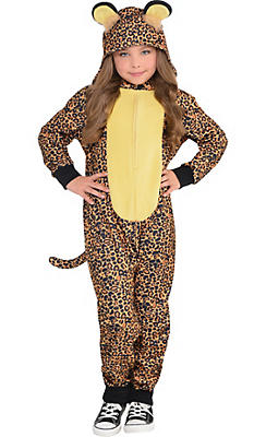Girls Zipster Leopard One Piece Costume