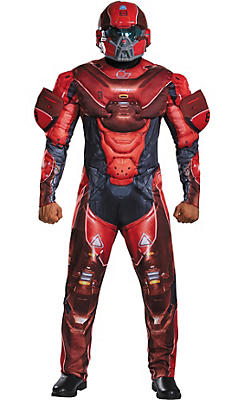 Adult Red Spartan Muscle Costume - Halo