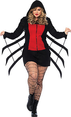 Adult Cozy Black Widow Spider Costume Plus Size