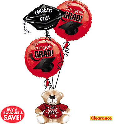 Foil Red Graduation Balloon Bouquet 3pc with Bear