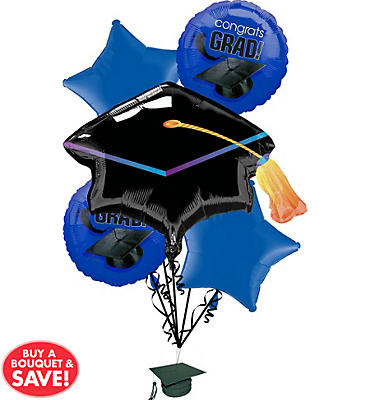 Foil Royal Blue Graduation Balloon Bouquet 5pc