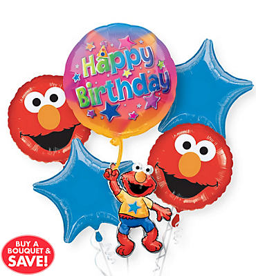 Happy Birthday Elmo Balloon Bouquet 5pc