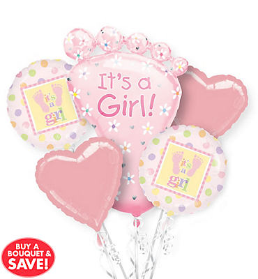 Foil It's A Girl Baby Shower Balloon Bouquet 5pc